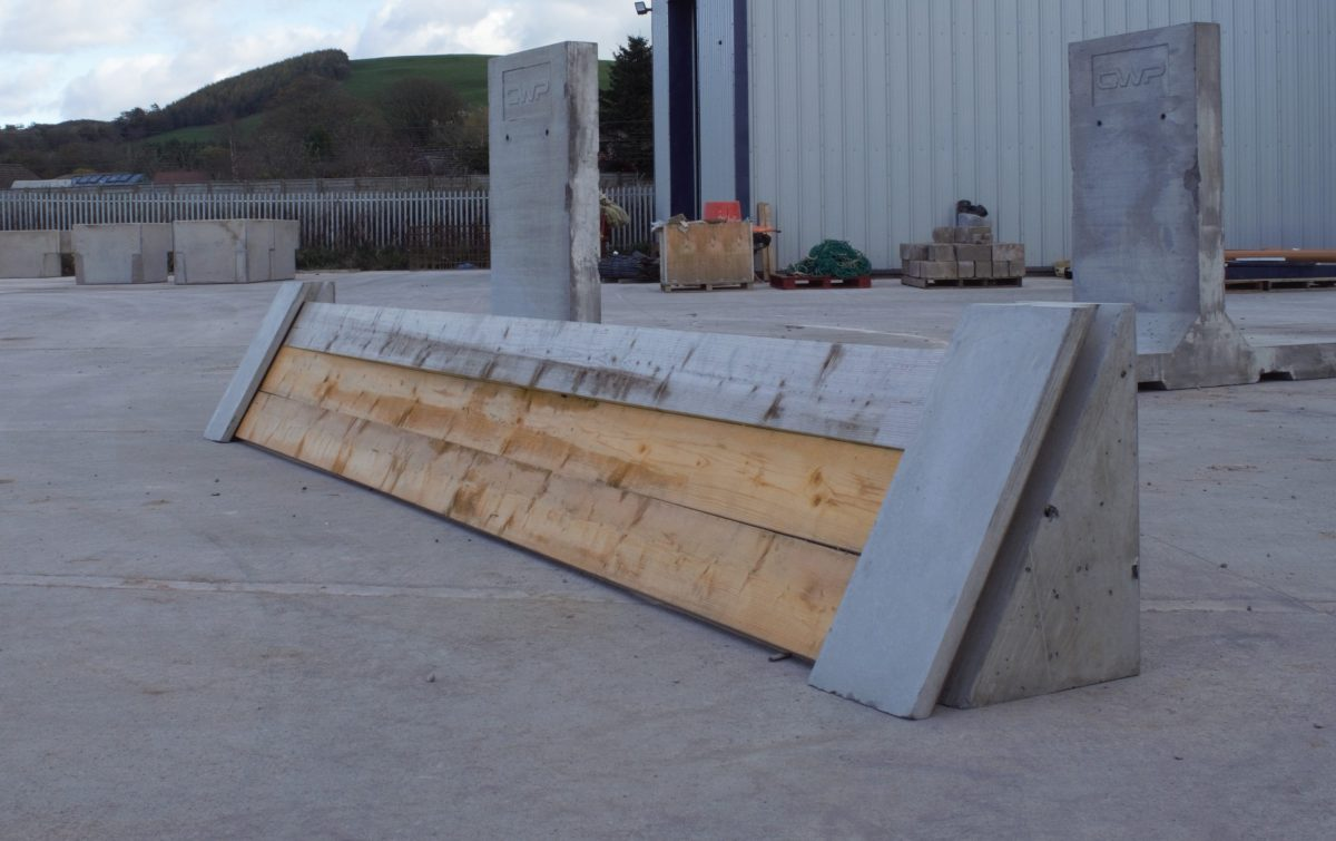 Concrete feeder complete with timbers