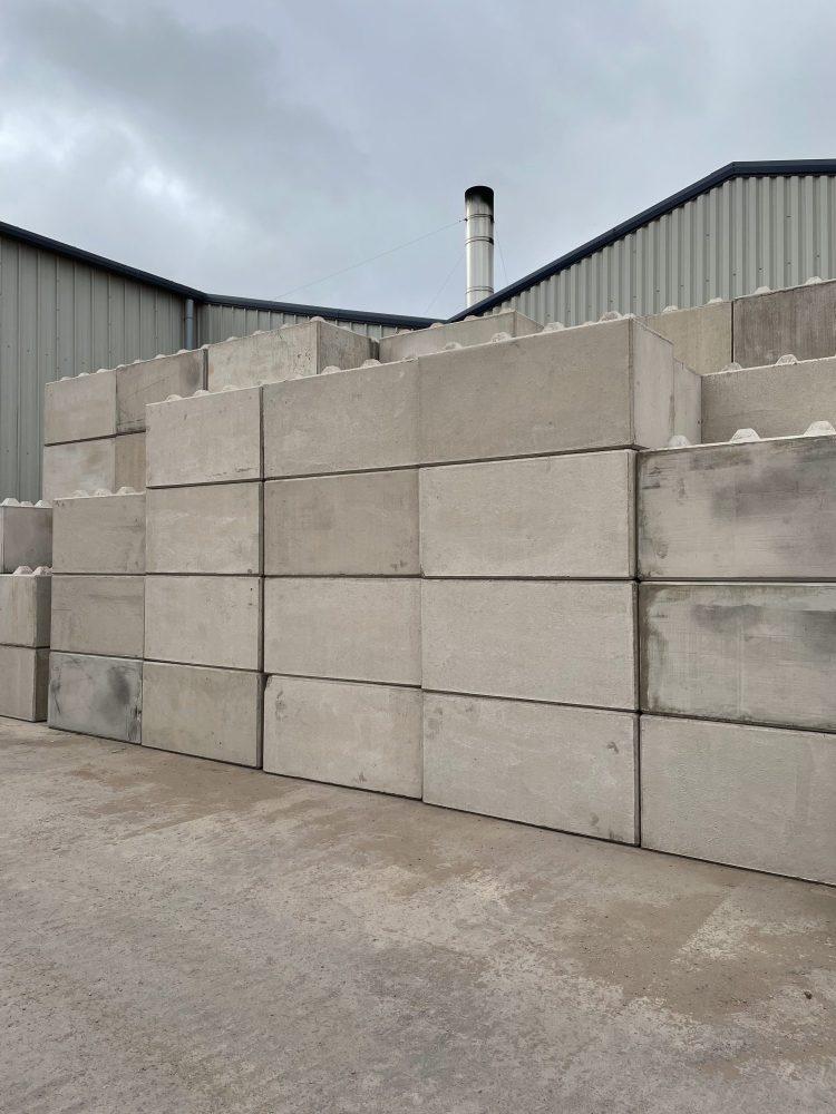 Interlocking concrete blocks in our yard